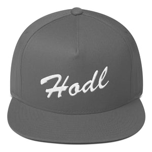 Hodl Text White, Flat Bill Snapback Hat