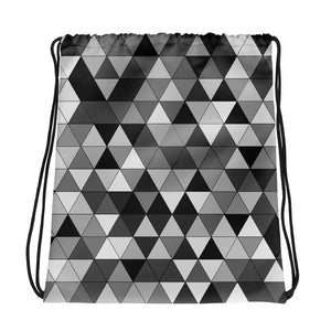 Grayscale Triangle Pattern, Drawstring Bag