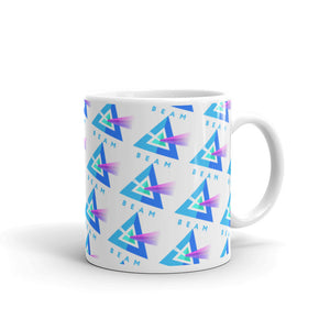 Beam Cryptocurrency Logo Pattern, White Glossy Coffee Mug