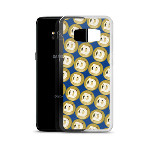Dogecoin Cryptocurrency Logo Pattern, Samsung Galaxy Case Dark Blue
