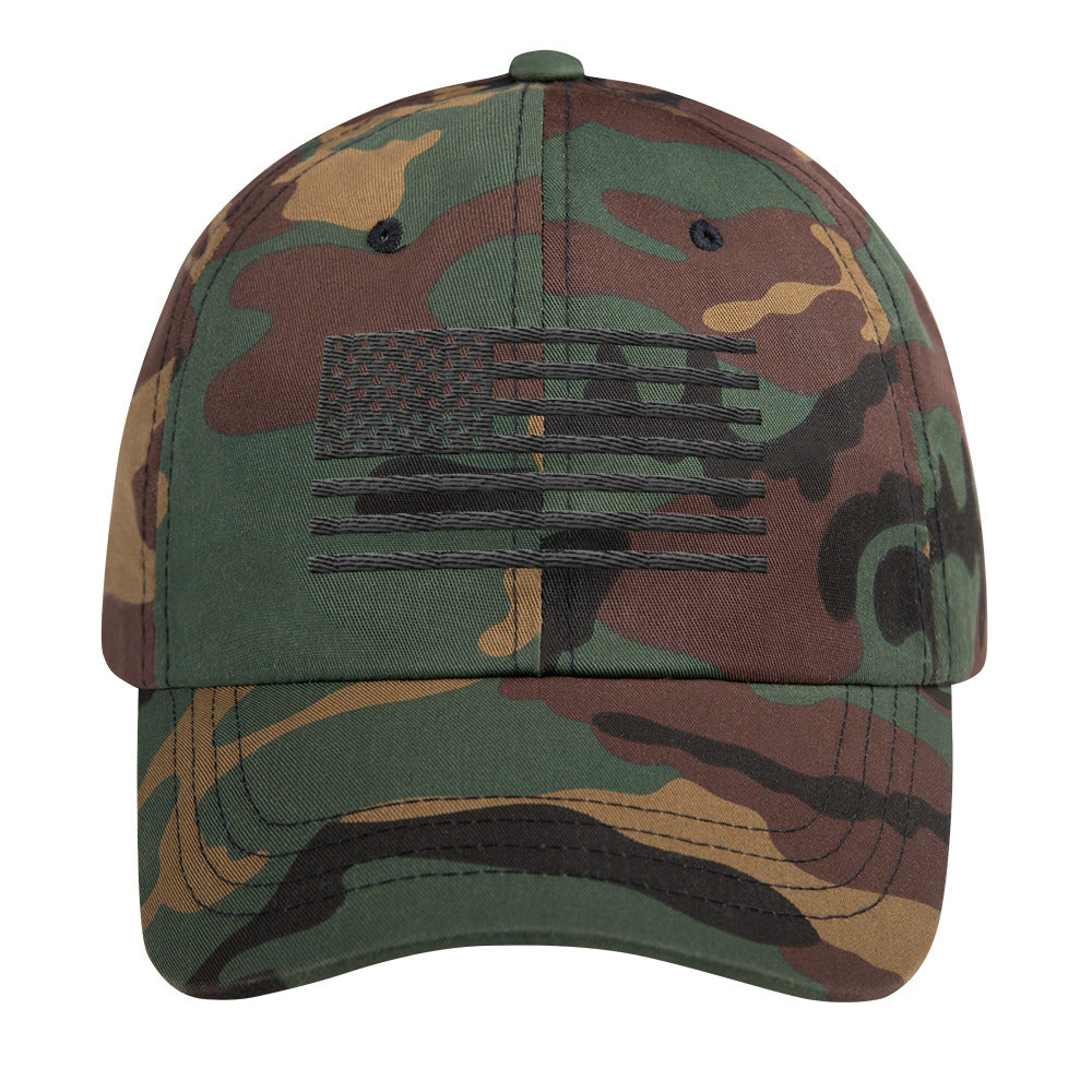 Black US Flag, Dad Cap Camo