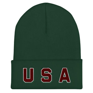 USA Text, Embroidered Unisex Cuffed Beanie