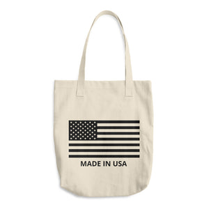 Black US Flag Made In USA Text, Denim Woven Cotton Tote