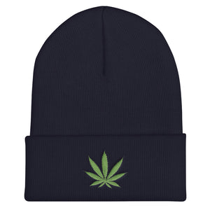 Cannabis Leaf Green, Unisex Cuffed Beanie