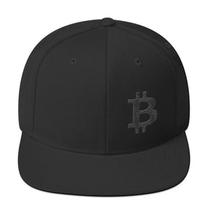Bitcoin Cryptocurrency Logo Left Hand Side Black, Snapback Hat