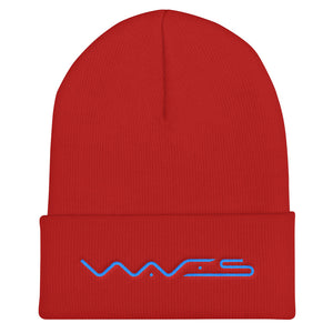 Waves Cryptocurrency Logo Text, Unisex Cuffed Beanie