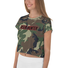 Load image into Gallery viewer, Deer Hunter Text Camo Print, Women's Crop Tee