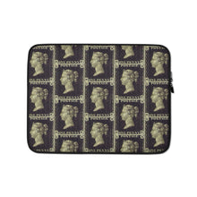 Load image into Gallery viewer, Penny Black Postage Stamp Pattern Laptop Sleeve 13 in