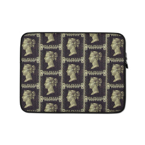 Penny Black Postage Stamp Pattern Laptop Sleeve 13 in