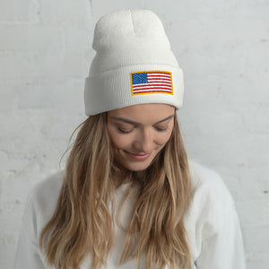 USA Flag Patch Style Printed, Unisex Cuffed Beanie