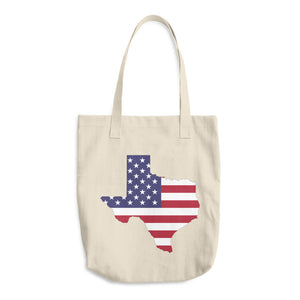 State of Texas Map With US Flag, Cotton Tote Bag BEIGE
