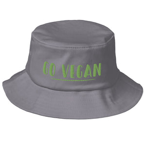 Go Vegan Text Green, Old School Bucket Hat