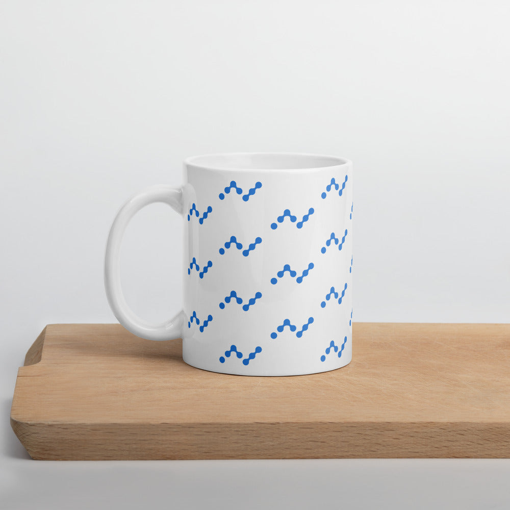 Nano Cryptocurrency Logo Pattern, White Glossy Coffee Mug 11oz