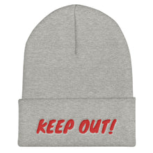 Load image into Gallery viewer, Keep Out! Text Red, Unisex Cuffed Beanie
