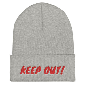 Keep Out! Text Red, Unisex Cuffed Beanie