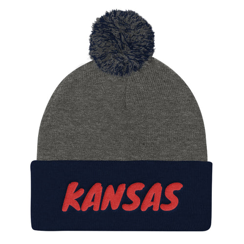 Kansas Text Red, Pom Pom Knit Cap