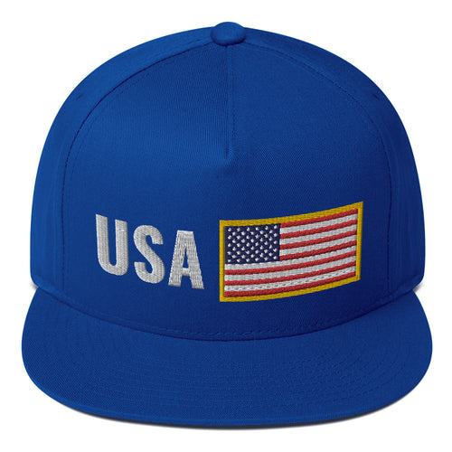 US Flag Team USA Support Flat Bill Snapback Hat