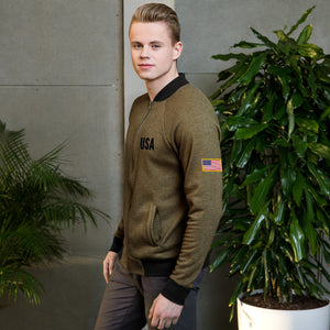 USA Text  With US Flag on Sleeve, Men's Light Bomber Jacket