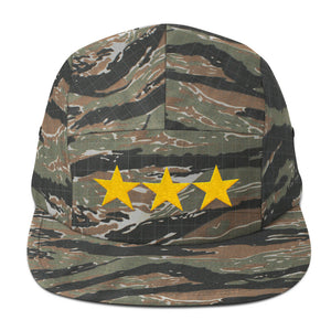 Green Tiger Camo 3 Star General Style, Five Panel Cap