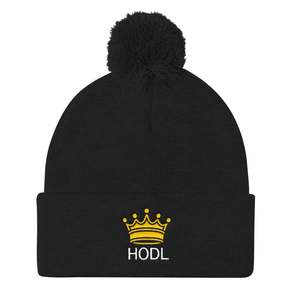 HODL Crypto Currency Adage Text With Crown, Pom Pom Knit Cap