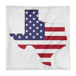 Texas State Map With USA Flag, Premium Pillow Case only WHITE