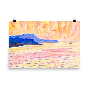 Blue Coast Painting Watercolor Photo Paper Poster