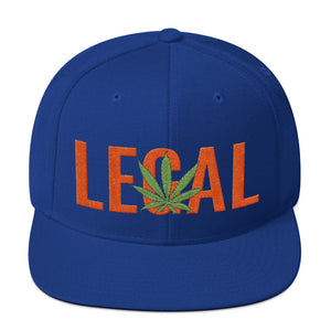 Cannabis Leaf Legal Text Orange, Snapback Hat