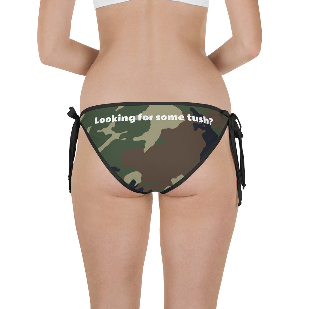 Looking For Some TUSH? Text Camouflage Pattern Print, Bikini Bottom