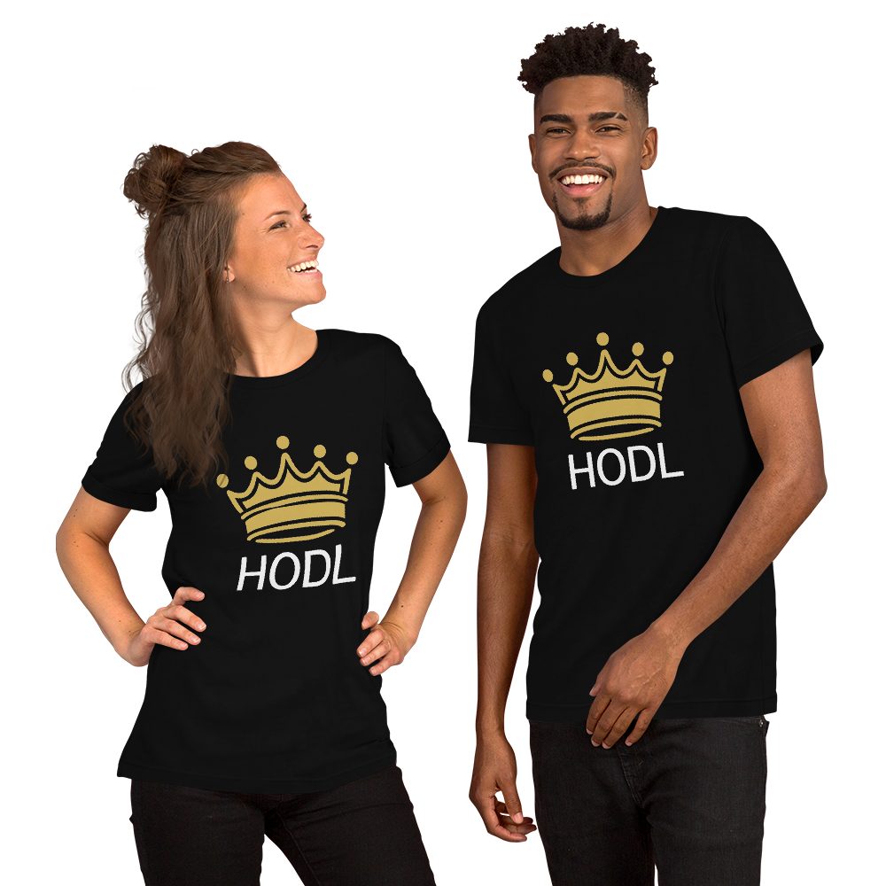 HODL Crypto Currency Adage Text With Crown, Short-Sleeve Unisex T-Shirt