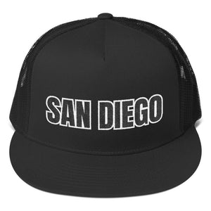 San Diego Text 2 Partial 3D Puff, Trucker Cap