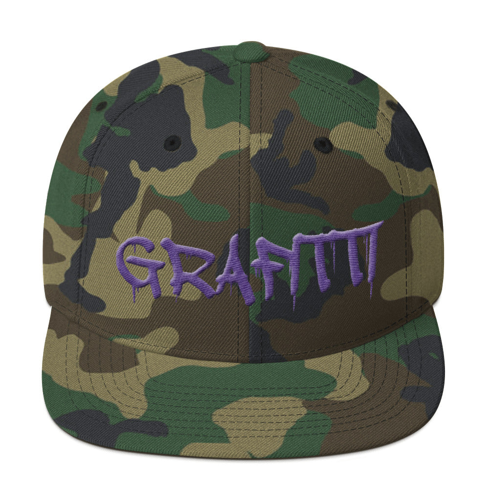 Grafitti Text Purple 3D Puff, Snapback Hat CAMO