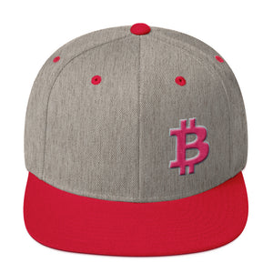 Bitcoin BTC Symbol Hot Pink, Wooled Snapback Hat