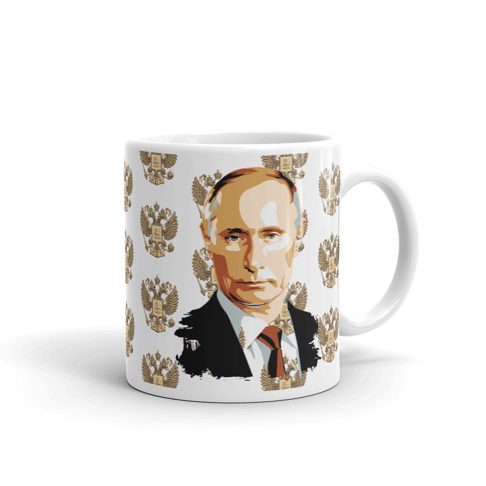 Vladimir Putin And Goat Of Arms Russia White Glossy Coffee Mug