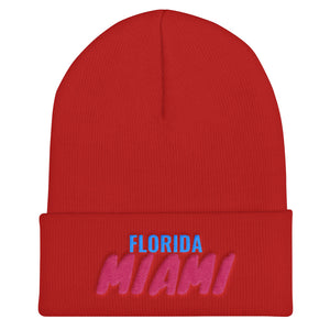 Miami Florida Text Beanie, Unisex Cuffed Beanie