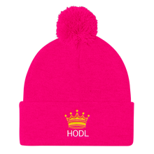 Load image into Gallery viewer, HODL Crypto Currency Adage Text With Crown, Pom Pom Knit Cap