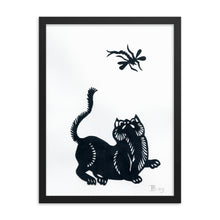 Load image into Gallery viewer, Cat and Dragonfly Paper Cutting Framed Poster