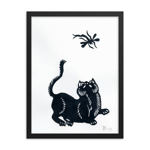 Cat and Dragonfly Paper Cutting Framed Poster