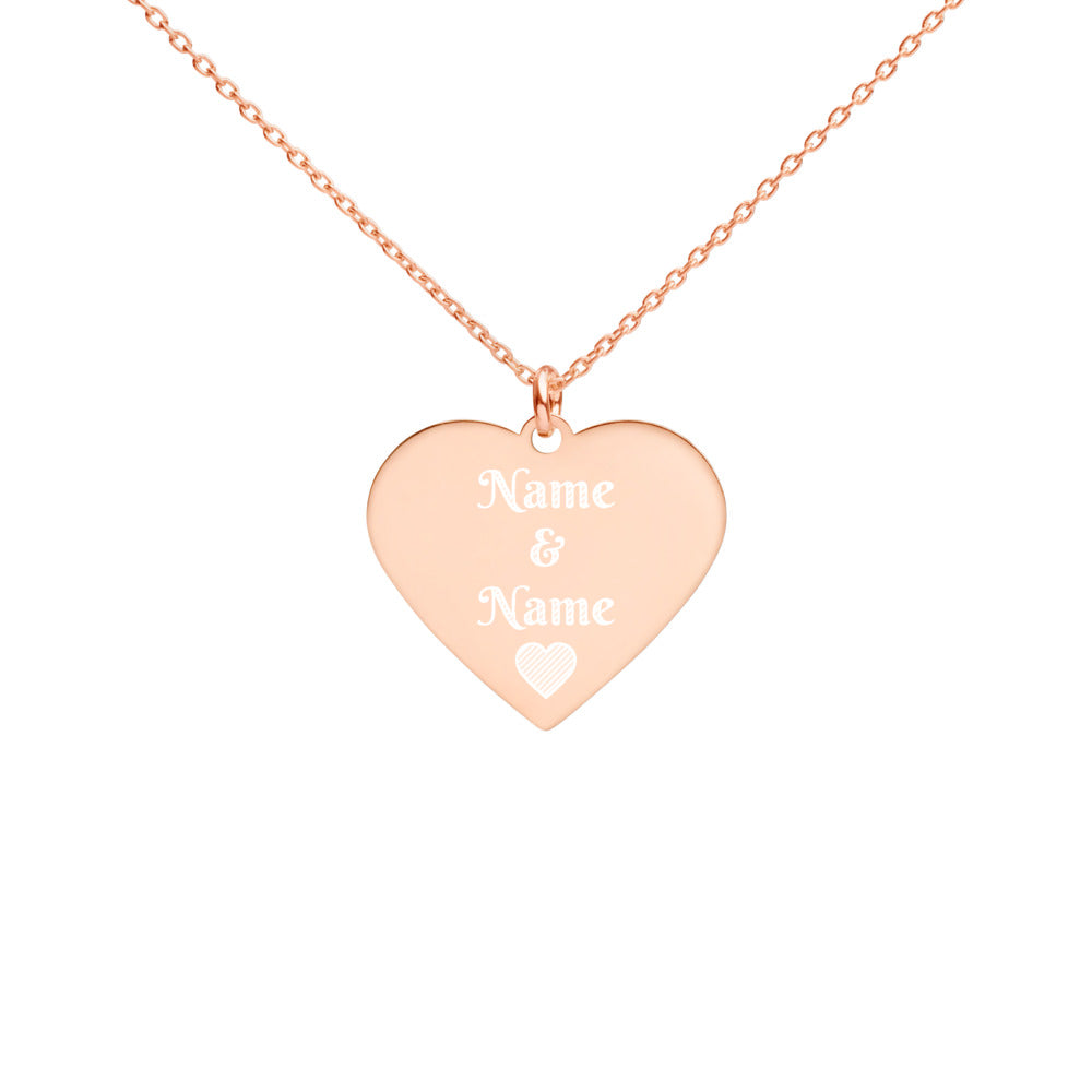 Valentine's Day Heart Custom Names Engraved Silver Heart Necklace