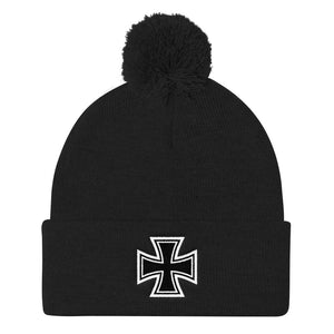 Maltese Cross, Pom Pom Knit Cap