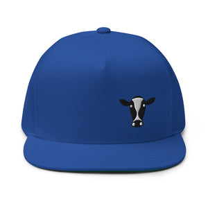 Cow Head, Embroidered Flat Bill Cap