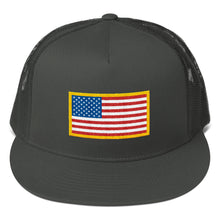Load image into Gallery viewer, US Flag Patch Style Printed, Mesh Back Snapback Hat CHARCOAL GRAY