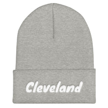Load image into Gallery viewer, Cleveland Text White, Unisex Cuffed Beanie