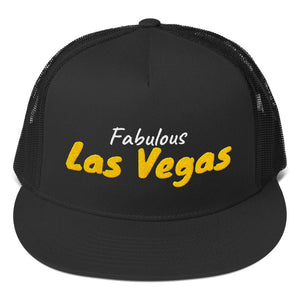 Fabulous Las Vegas White and Gold Text, Trucker Cap