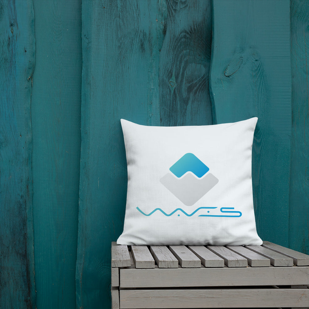 Waves Crypto Currency Logo With Text, Premium Pillow