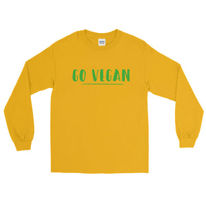Go Vegan Text Green, Unisex Long Sleeve T-shirt