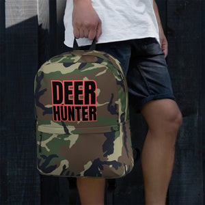 Deer Hunter Text Camo Pattern Print, Backpack