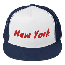 Load image into Gallery viewer, New York Text Red, Trucker Cap