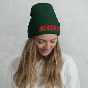 Alaska Text Red, Unisex Cuffed Beanie
