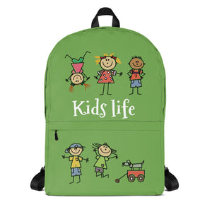 Kids Life Cartoon Style, Backpack Light Green
