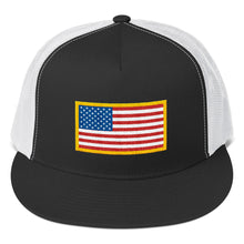 Load image into Gallery viewer, US Flag Patch Style, Classic Trucker Cap BW